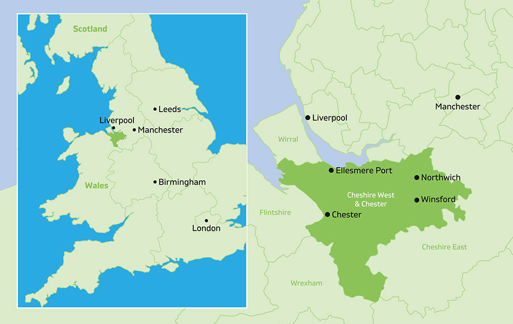 Map of UK and Cheshire West area