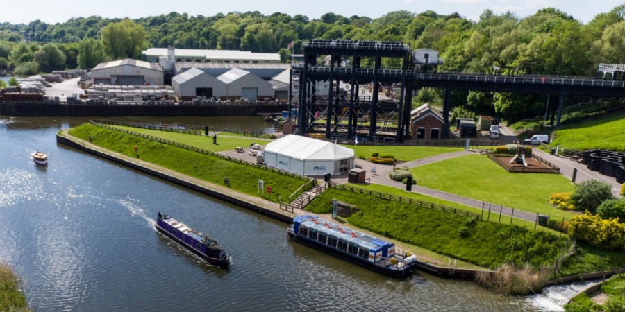 An overhead view of Anderton Boat Lift
