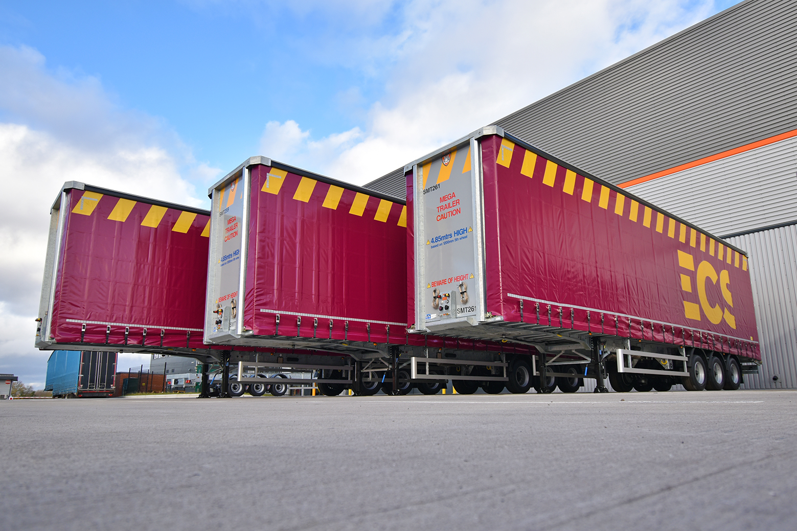 Three of the trailers built for ECS by Tiger Trailers.