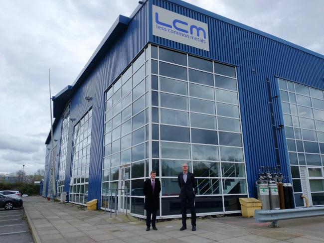 Ellesmere Port and Neston MP Justin Madders with Ian Higgins, director of Less Common Metals.