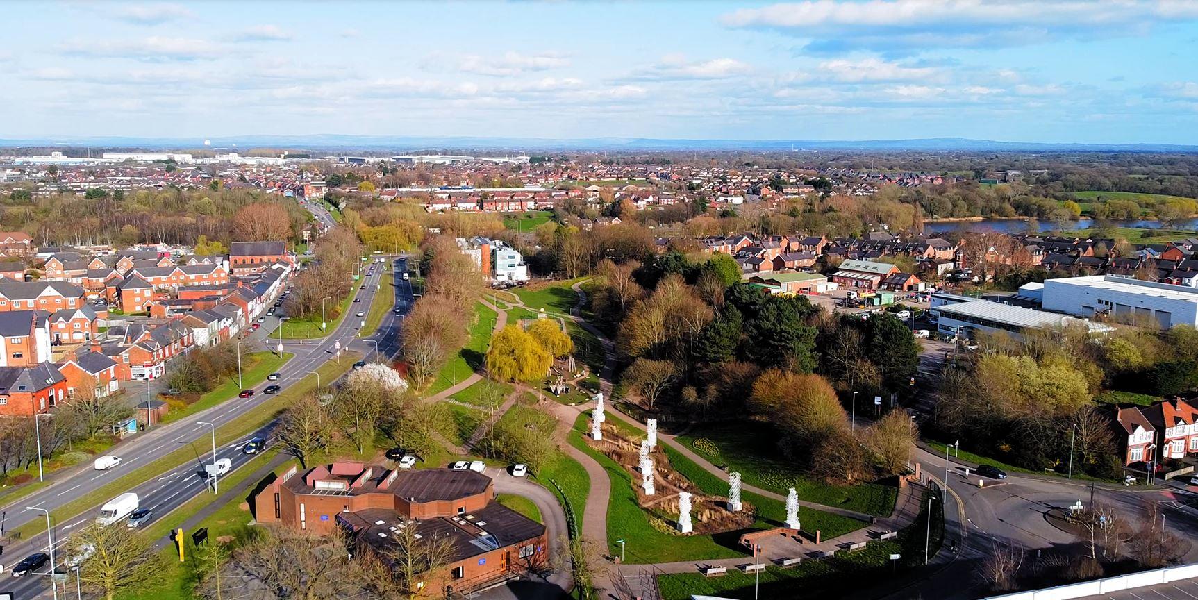 An aerial view of Winsford town centre.